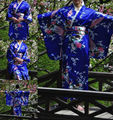 HOT Vintage Kimono Costume Yukata Gown Japanese Floral Robe Haori Dress with Obi Geisha kimono Dress One Size