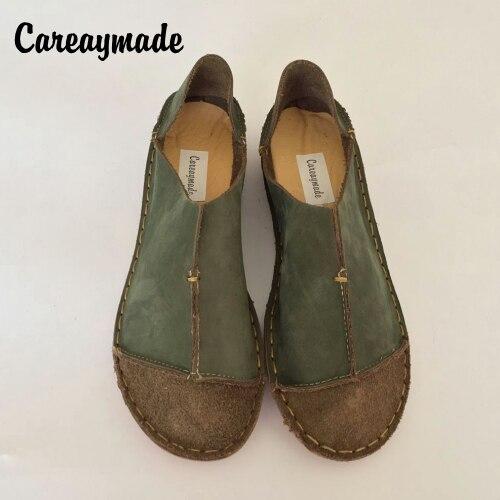 Careaymade-обувь из натуральной кожи, Сапоги ручной работы в ретро-стиле Mori обувь для девочек, Матовые кожаные туфли, модная обувь без застежки