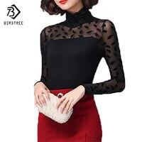 Moet She Women Mesh Black Blouse Pattern Feather Rose Polka Dot Jacquard Shirt Turtleneck Top Women