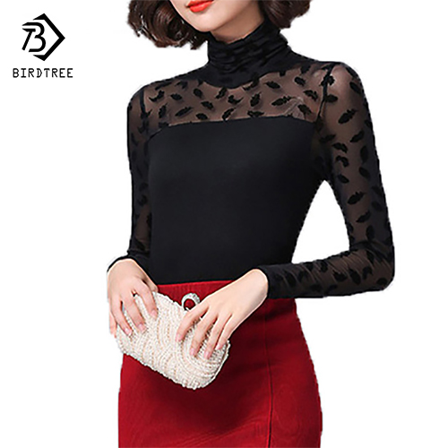 Autumn Women Mesh Black Blouse Feather/ Rose /Polka Dot /Jacquard Lace Shirts Strechy Turtleneck Tops Ladies Clothes Plus Size