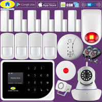 Golden Security S5 WIFI GSM Alarm Systems Security Home Smoke Fire SOS Alarm Detector APP Control IP Camera Strobe Siren DIY KIT