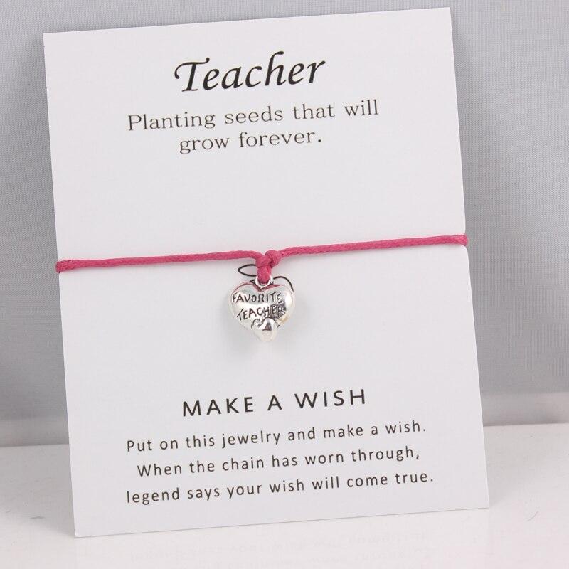 Silver Favorite Teacher Charms Bracelets Adjustable Wish Card Bracelets For Women Men Gifts For Teacher's Day Gifts