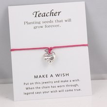 Silver Favorite Teacher Charms Bracelets Adjustable Wish Card Bracelets