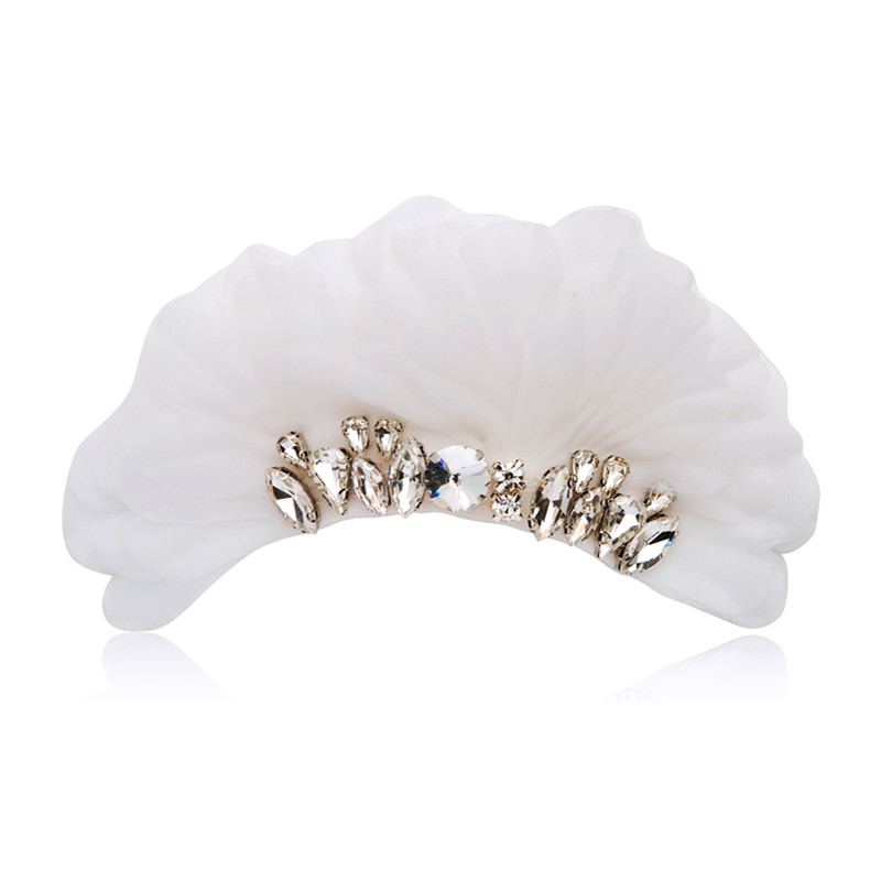CHIMERA Rhinestone Wedding Hair Comb Clips With White Cloth Floral Hairpin Fashion Bridal Hair Styling Accessories for Party