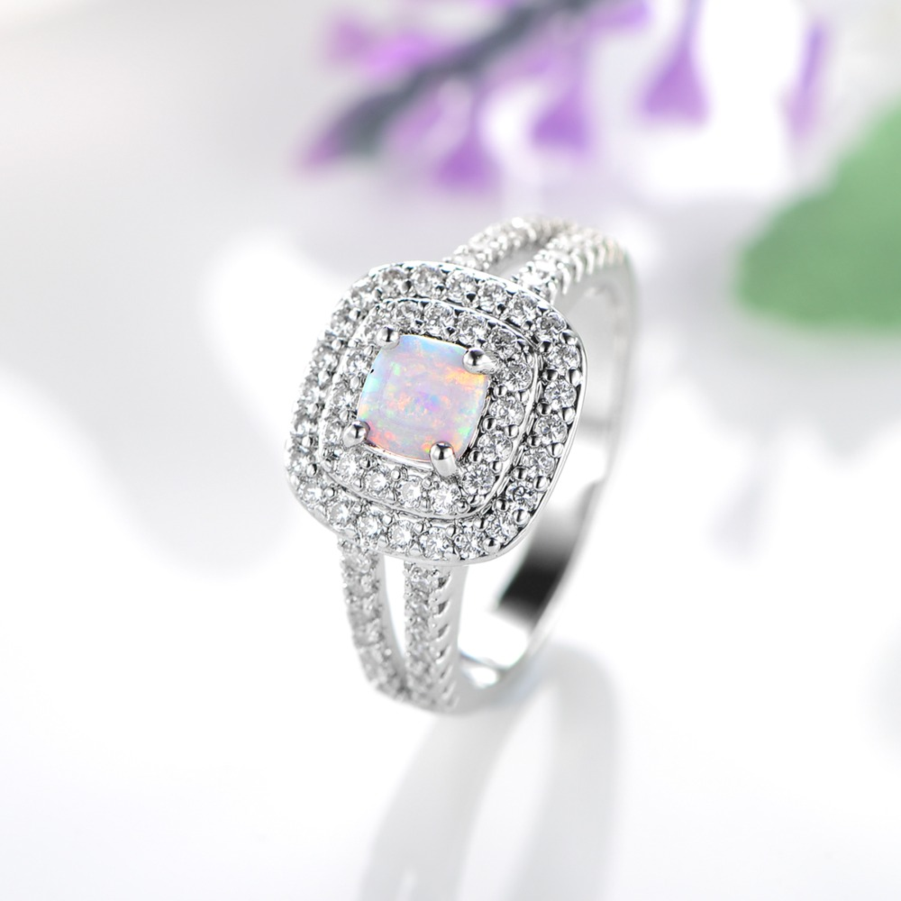 Angel Girl 5mm Opal Ring With Miniature Zirconia