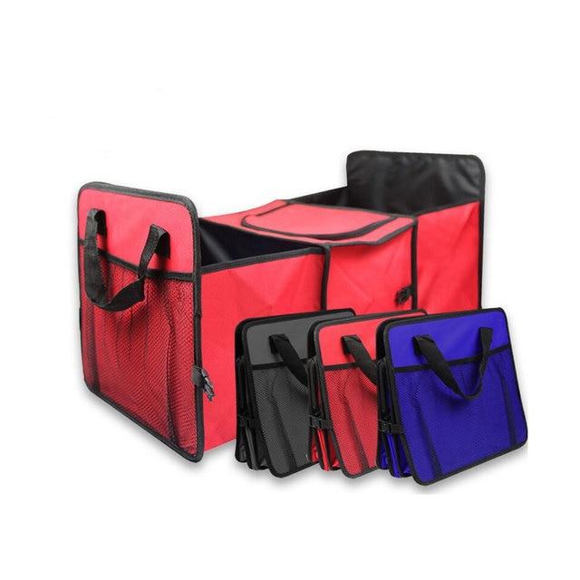 Oxford kumaş araba gövde bitirme paketi dayanıklı, çok amaçlı katlanabilir 3 ızgara araba saklama kutusu soğutucu kutu, 60x32x29cm