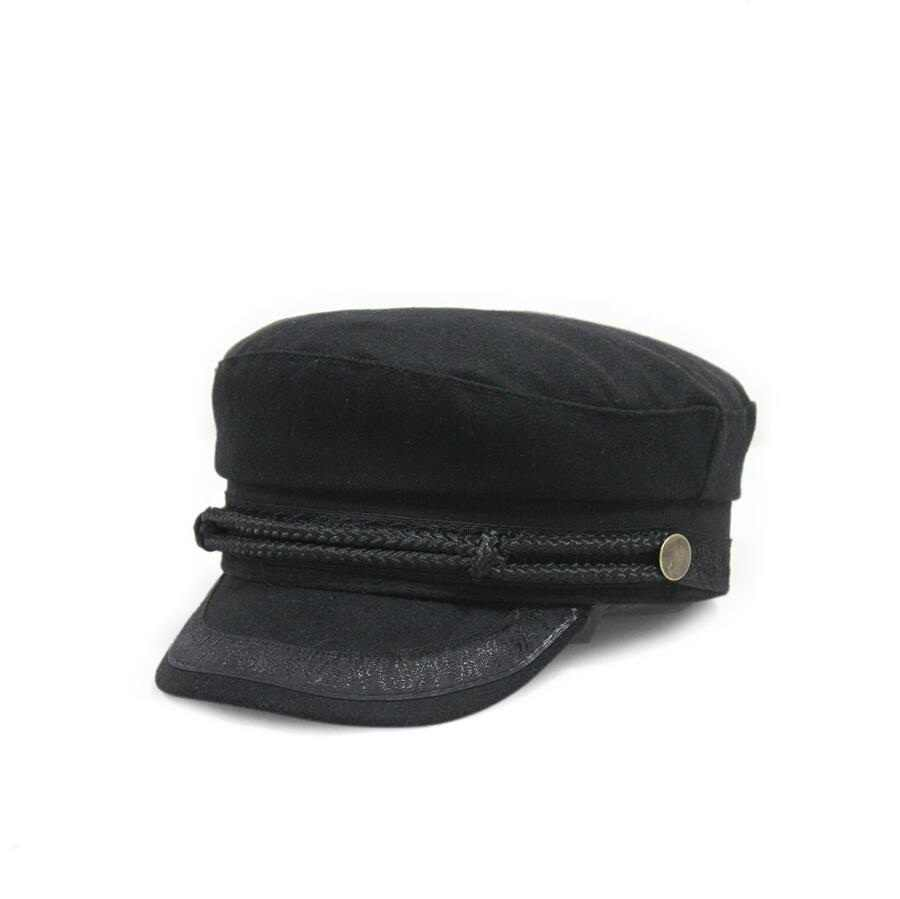 Xongkoro Wool Military Cap Flat Top Army Navy Caps Lace Rope Old Fashion  Wool Hat Black 1d24cc521026