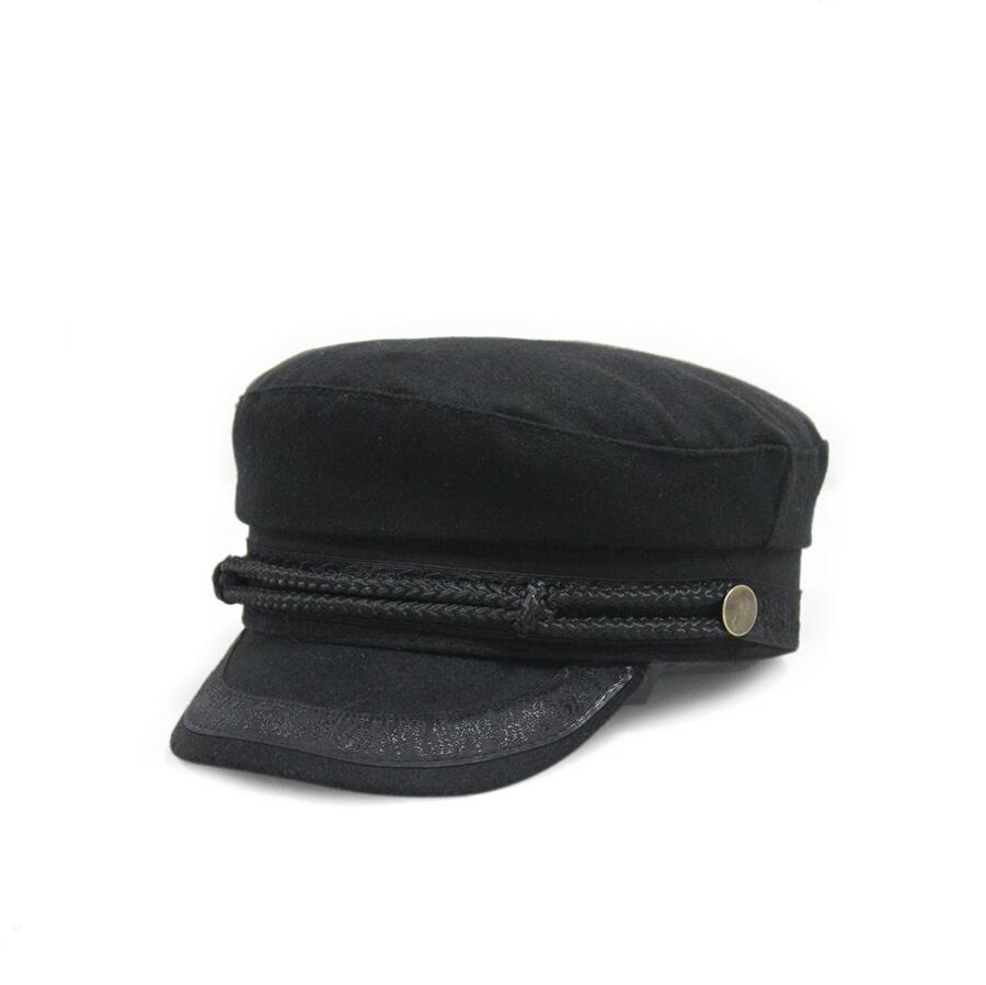 Xongkoro Laine Casquette Militaire Flat Top Armée Marine Caps Dentelle Corde vieux Mode Laine Chapeau Noir Bleu Rouge Couleur Visières Pour Hommes femmes