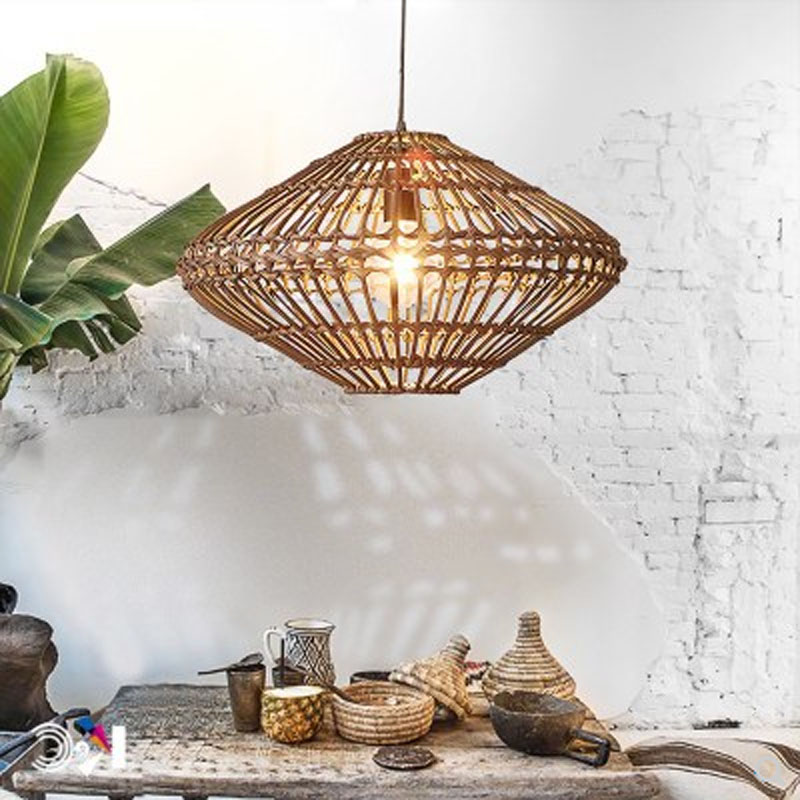Southeast Asian vintage rattan hand-woven new Chinese tea room E27 creative wicker decoration restaurant lighting pendant lamp