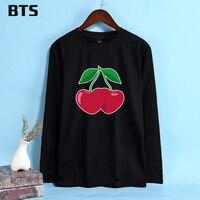BTS Cherries And Hearts T Shirt Women High Quality Printed Casual T Shirt Women Long Sleeve