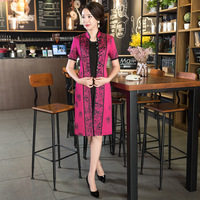 Two Piece Qipao Traditional Chinese Flower Sexy Women Dress Vintage Elegant Mandarin Collar Cheongsam Plus Size