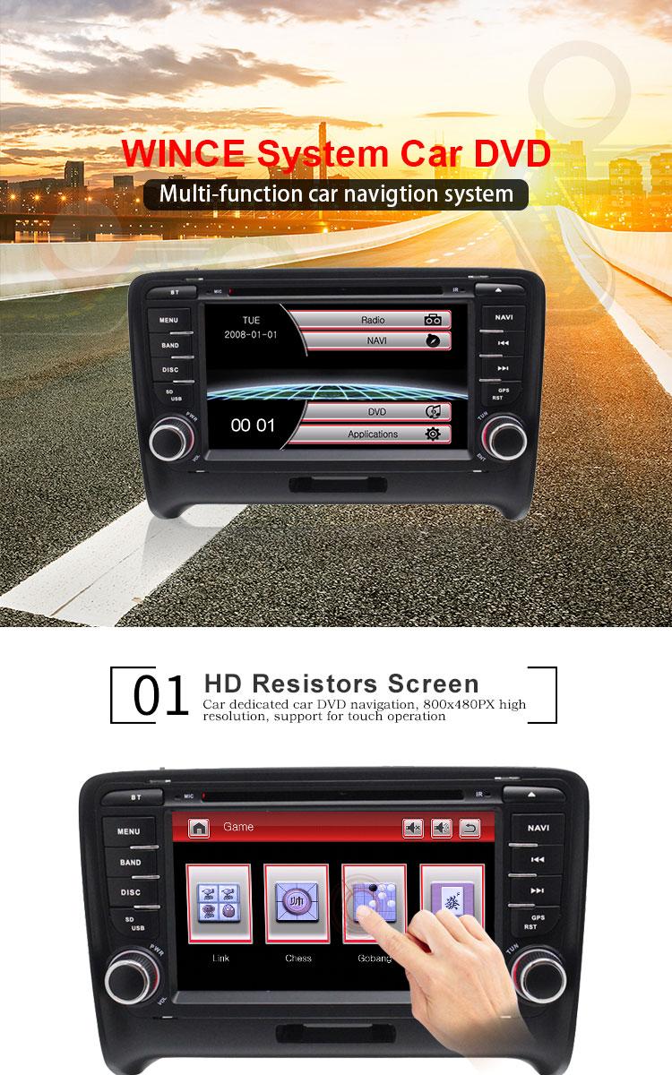 Cheap TOPBSNA 2 Din Car DVD Player For AUDI TT/TTS MK2 8J 2006-2012 GPS Navigaiton multimedia automotive dvd Auto Stereo Headunit USB 1