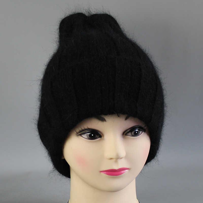 [Rancyword] 여성을위한 두꺼운 겨울 모자 앙고라 Beanies Hat 니트 양모 따뜻한 비니 백 오픈 2018 New RC2055