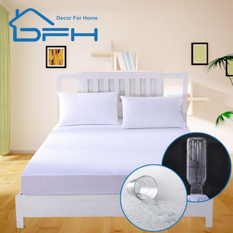 160X200 Terry Mattress Pad Cover 100% Waterproof Sheet Matras Protector Bed mattress fitted anti punaise de lit Mattress for Bed(China)