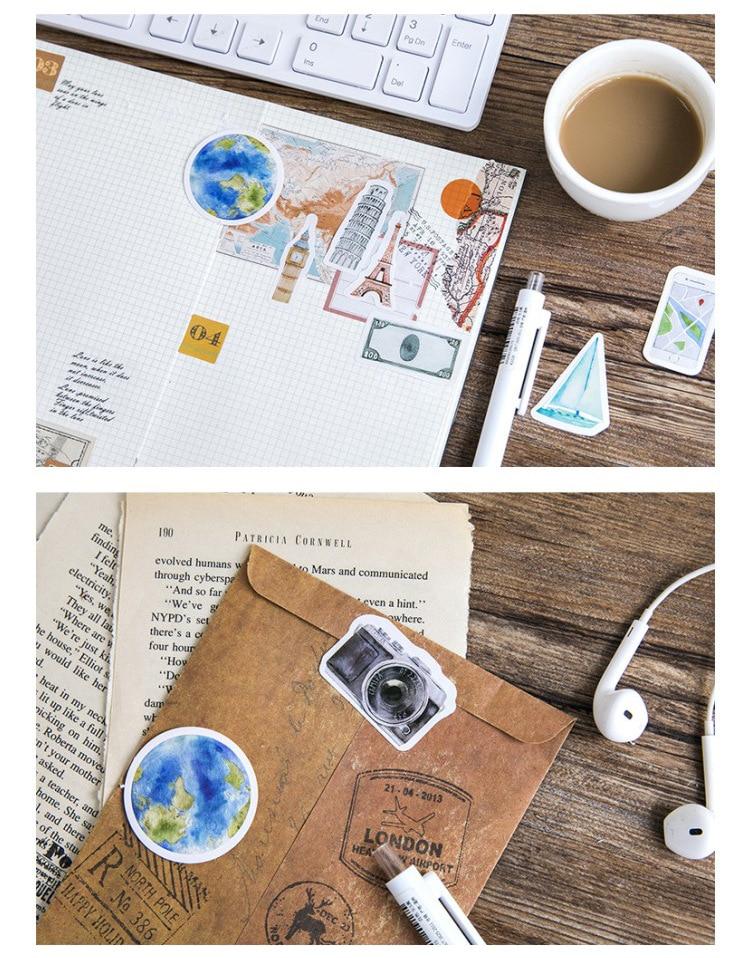 Декоративные наклейки для путешествий от одного человека, самоклеящиеся наклейки, декоративные наклейки для дневника, канцелярские наклейки, детский подарок