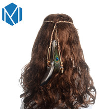 M MISM Girls Popular Feather Headband Festival Hippie Hair Band Accessories for Women Boho Styling Colorful Peacock Headdress(China)