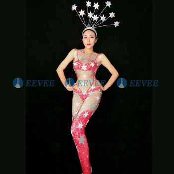 2019 Sexy Perspective Pentagram sequin Jumpsuit JAZZ Dj Costume Nightclub DS Singer Stage Outfits Headwear Bodysuit Rave Clothes