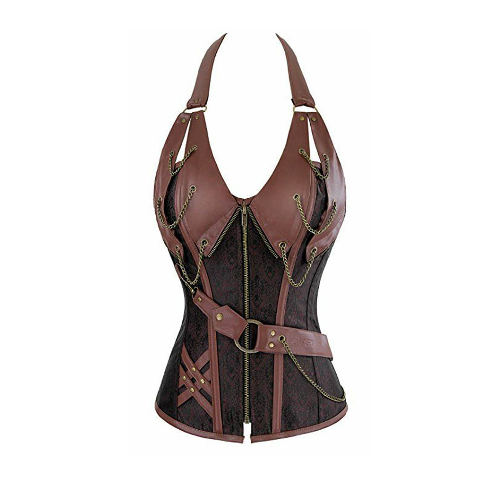 coswe retro bustiers corsets women zipper brown brocade steampunk