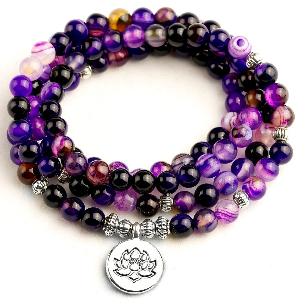 Women's Bracelet Bright Purple Line Beads with Lotus OM Buddha Charm Yoga Bracelet 108 Mala 6MM Beads Necklace Men Dropshipping