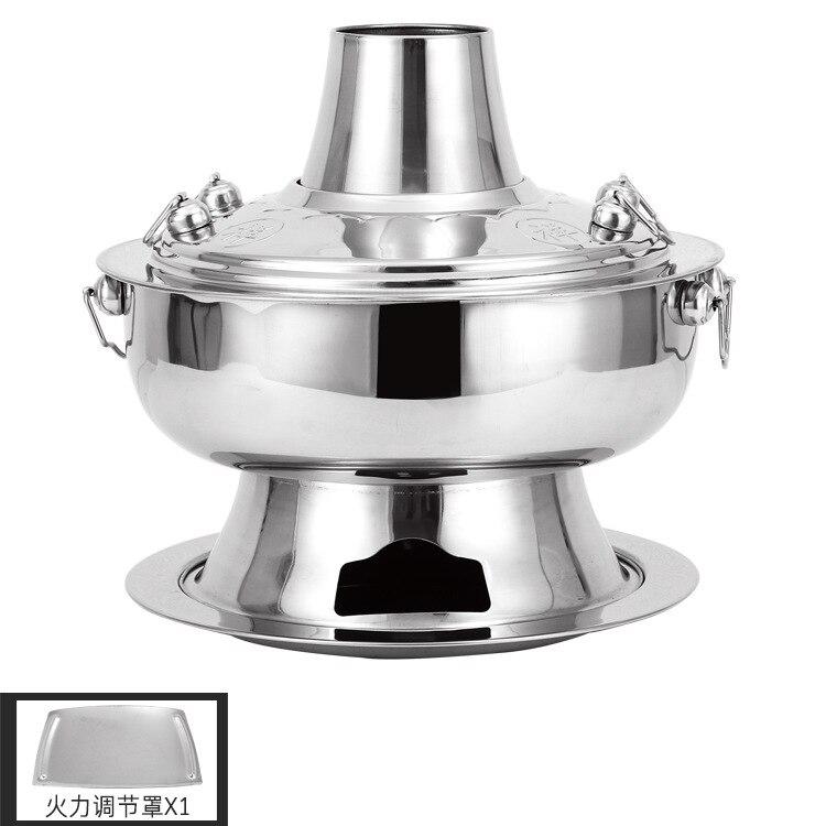 Engrosada de acero inoxidable carbón chino cobre olla caliente viejo Beijing estilo olla caliente chino olla de Fondue de utensilios de cocina conjunto - 6