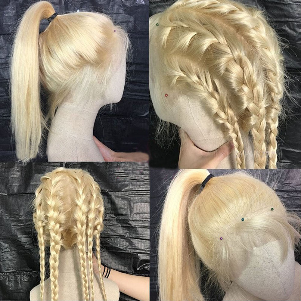 Image 3 - 613 Blonde 360 Lace Frontal Wig Pre Plucked With Baby Hair Straight 180% Density Lace Front Human Hair Wigs Short Bob Wig Venvee-in Human Hair Lace Wigs from Hair Extensions & Wigs
