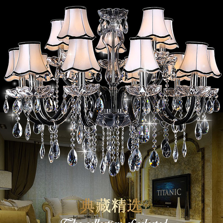 Black chandelier 15 Arms Large Crystal Chandelier Lamp Lustre Home with 100% K9 Crystal  Luxury crystal light chandelier Fashion