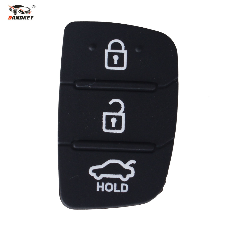 DANDKEY Auto Parts Replacement Case Car Key Rubber Button Pad For Hyundai 3 Buttons Shell Blank Cover Free Shipping