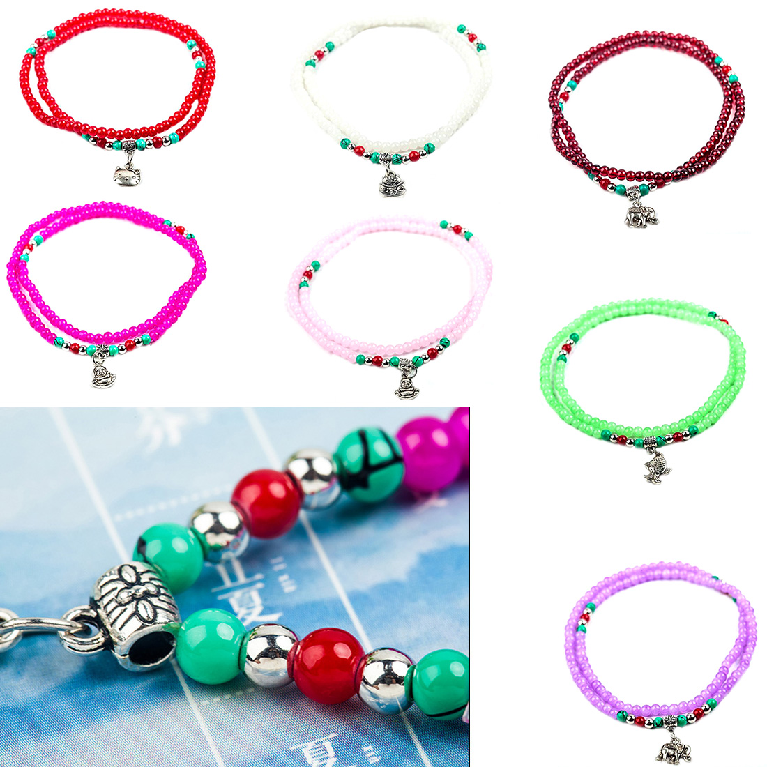Women Bracelets Hot Sale Crystal Multilayer Bracelets Colorful Beads Bracelets 9Colors Available Fashion Jewelry Bracelets