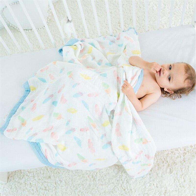 Musselin Baum Zwei Schichten 70% Bambus 30% Baumwolle Gaze Neugeborenen Liefert 3,5 cm Breiten Rand Baby Swaddle Kind Traum Decke 120X120 cm