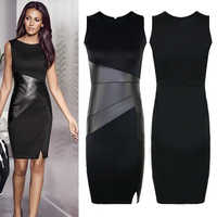 New Arrival XXL Ladies Sexy Slim Fashion Mesh Women Clubwear Zipper Black Elegant Slim Pencil Dress leather patchwork dress