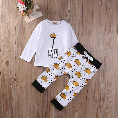 Autumn Spring Crown T-Shirt Newborn Toddler Infant Kids Baby Boy Clothes T-shirt Top+Pants Outfits Set ...