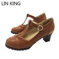 LIN KING Fashion Square Heel Women Pumps Girls Pu T Strap High Heel Shoes Casual Buckle