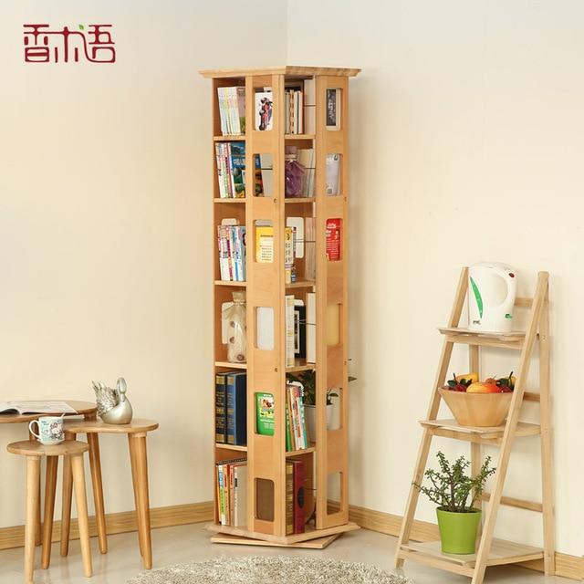 Bon Pragmatic Bookshelf Rotary Dressing Fragrant Wood Wood Shelves CD Rack A4  Beech Bookcase Creative Shelves Simple Landing