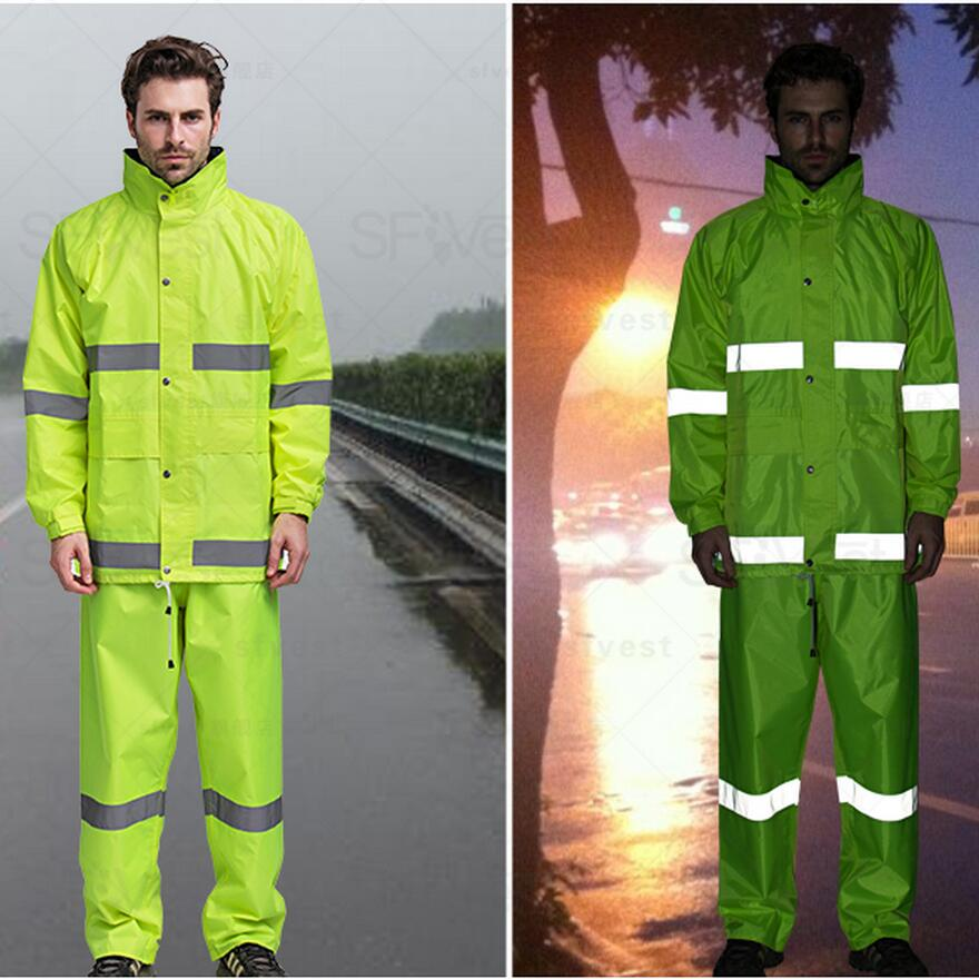 Hi vis waterproof fluorescent yellow rain wear rain suit rain jacket pant Poncho reflective safety jacket free shipping