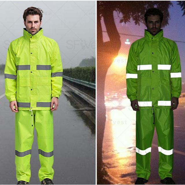 Hola vis impermeable amarillo fluorescente de lluvia traje de lluvia  chaqueta pantalón Poncho chaqueta de seguridad 2deb3e07e4b