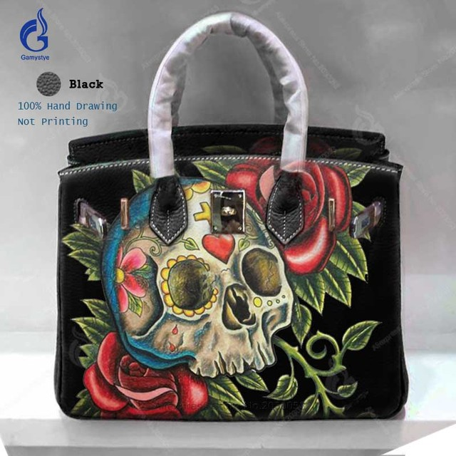 Luxury Handbags Women Bags Designer 2018 Fashion Genuine Leather Casual Totes Hand Painted Art Skull Rose