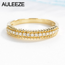 AULEEZE 18k Yellow Gold Ring 0.12CTTW Real Diamond Engagement Wedding Ring Classic Match Anniversary Natural Diamond Gold Ring