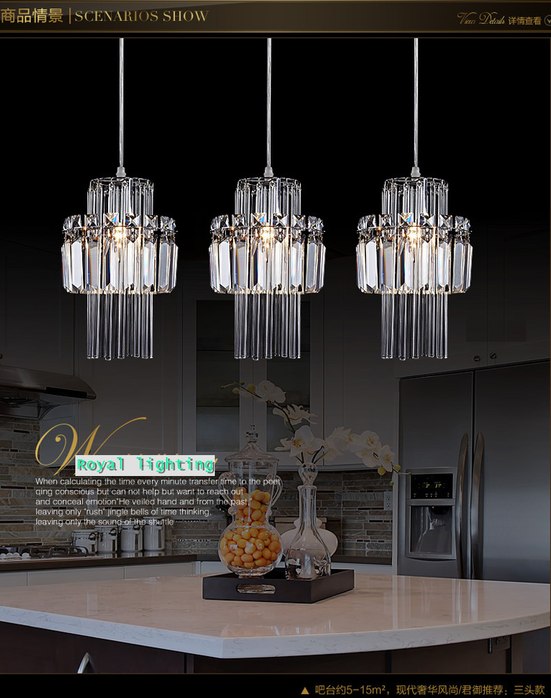 Dining room pendant crystal lamp 3 lights hanging lighting Kitchen table pendant lighting