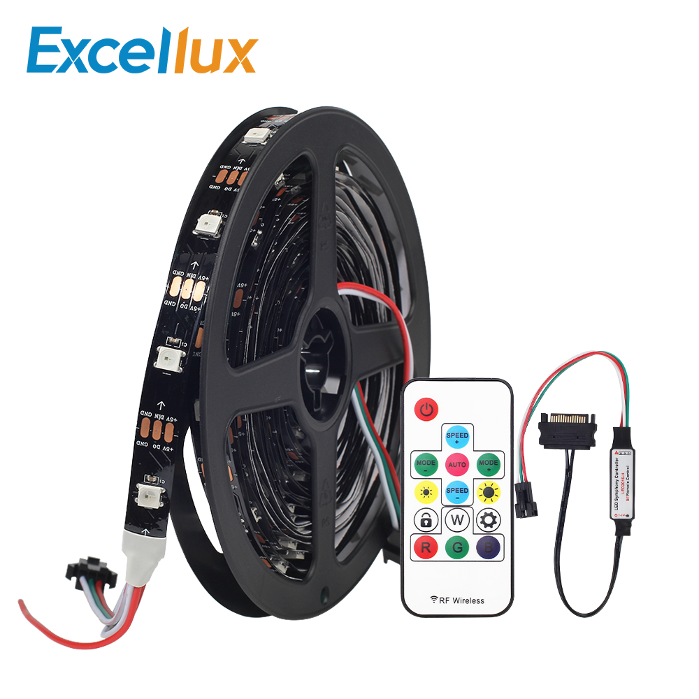 Led Lighting Industrious 1 Set Dc 5v Ws2812 2812b Led Strip Light 30leds/m No Waterproof+rf Remote Control For Computer Case Sata Connection Pixel Strips Superior Performance Led Strips