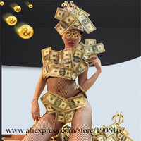 Sexy Lady US Dollar Art Design Bikini Set Suit With Headwear Glasses Costume Stage Performance DS Singer Dance Clothes Outfit