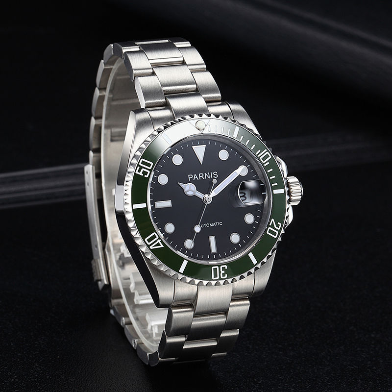 40mm parnis Black Dial Sapphire Glass Green ceramic Bezel Luminous Hands SS Band 21 jewels Miyota Automatic Movement men's Watch 40mm parnis white dial ceramic bezel date sapphire glass luminous rubber strap 21 jewels miyota automatic movement men s watch