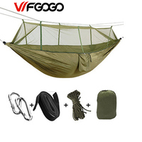WFGOGO Outdoor Parachute Cloth Hammock Bed Net Ultra Light Portable Double Army Green Camping Air Tent