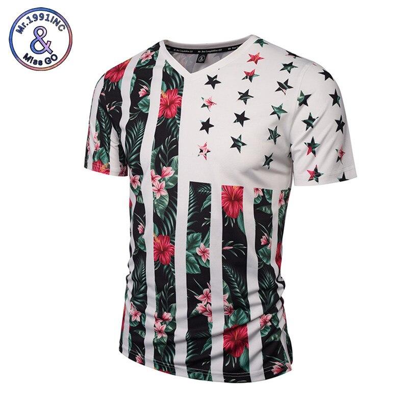 Mr.1991INC USA Flag Flowers T-shirt Men/Women Fashion Brand Tshirt Print Skulls Trees V-neck Summer T shirt Tops Tees
