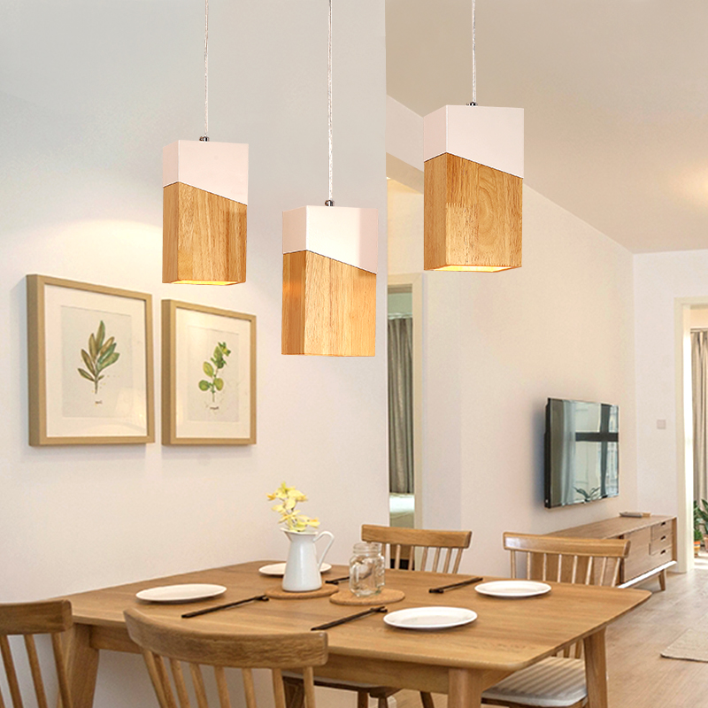 купить Nordic design wood pendant lights modern simple iron and wooden lampshade creative restaurant cafe hanging lamp light fixture онлайн