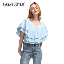 TWOTWINSTYLE Elegant Blue Blouse For Women V Neck Short Sleeve Ruffles Loose Shirt Female Fashion Clothes 2019 Summer New(China)
