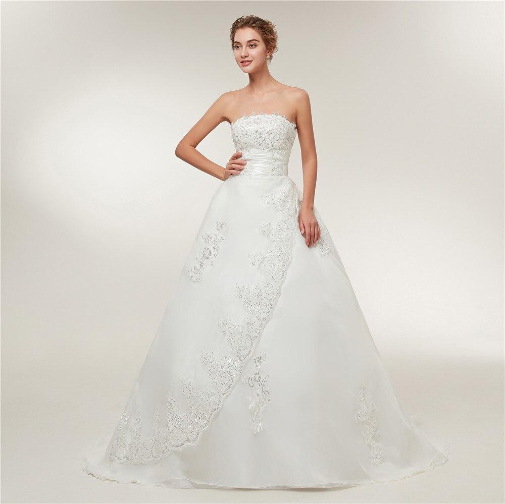Image 3 - Fansmile Cheap Vintage Lace Long Train Wedding Dresses 2019 Bridal Gowns Vestidos Plus Size Bridal Dress Free Shipping FSM 117T-in Wedding Dresses from Weddings & Events