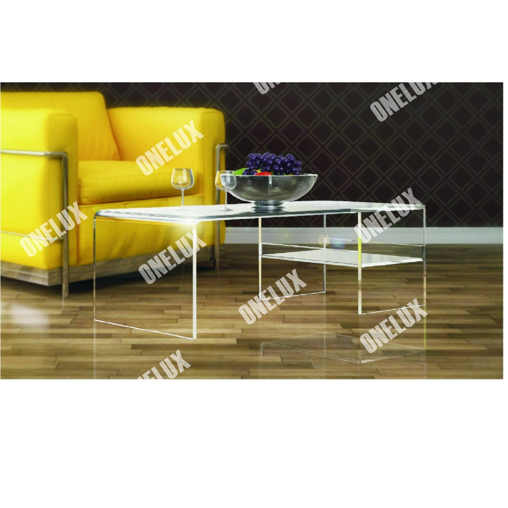 ONE LUX Clear Acrylic Lucite  Coffee Table With Tray / Magazine Holder, Lucite Occasional Tray Table one lux waterfall acrylic lucite lounge sofa table plexiglass waiting room magazine side coffee corner tables
