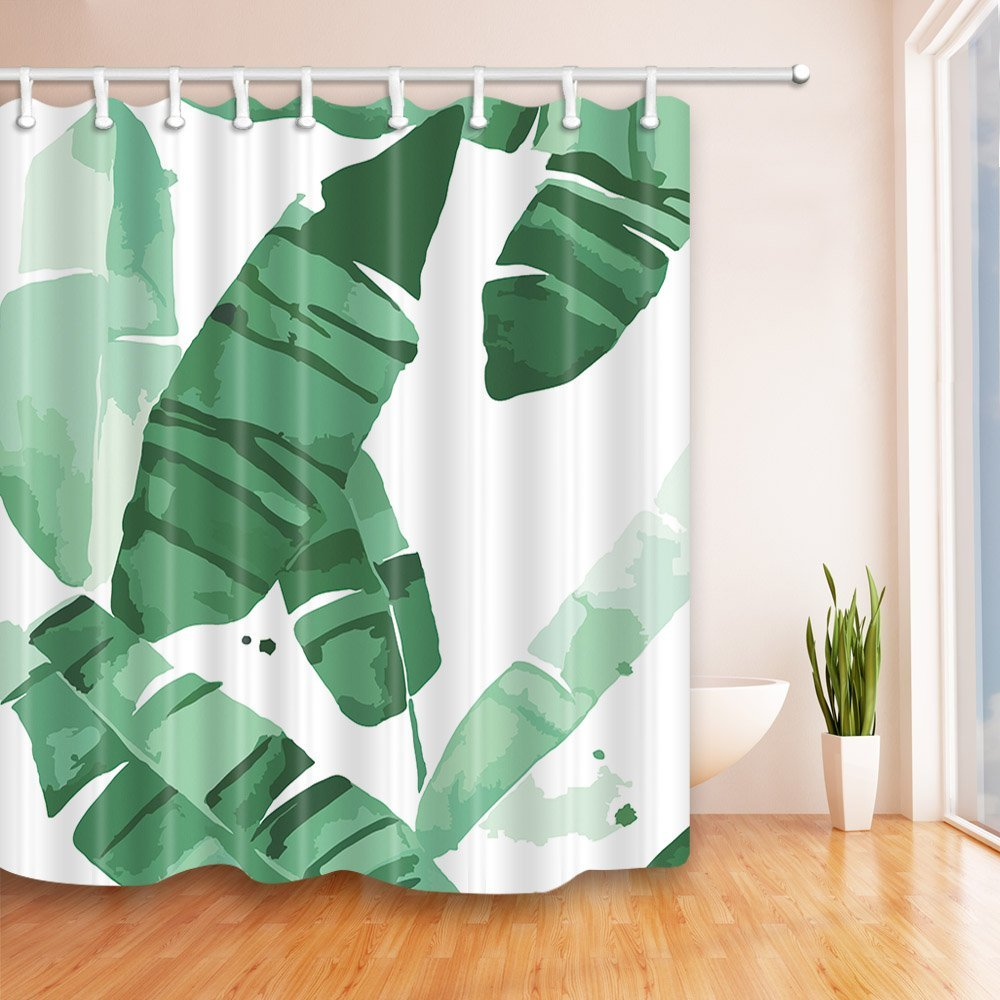 Tropical Banana Leaves Shower Curtains Bath Curtains -in Shower ...
