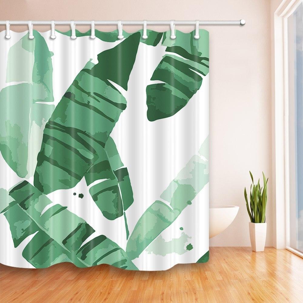 Tropical Banana Leaves Shower Curtains Bath Curtains