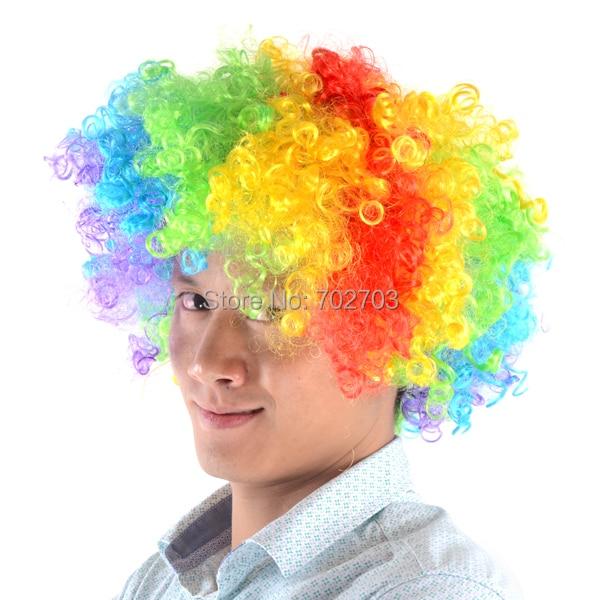 Fancy Costume Akcesoria Afro Rainbow Wielobarwny suporter piłkarski Peruka